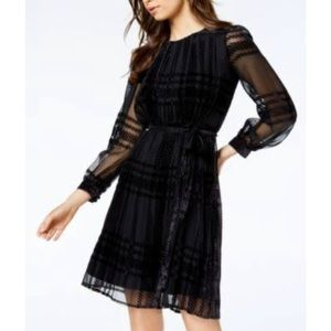 NWT Taylor Dress velvet plaid charcoal long sleeve